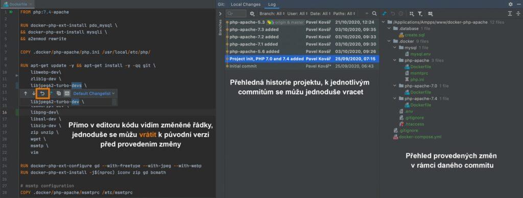 GIT integrovaný v IDE PHP Storm
