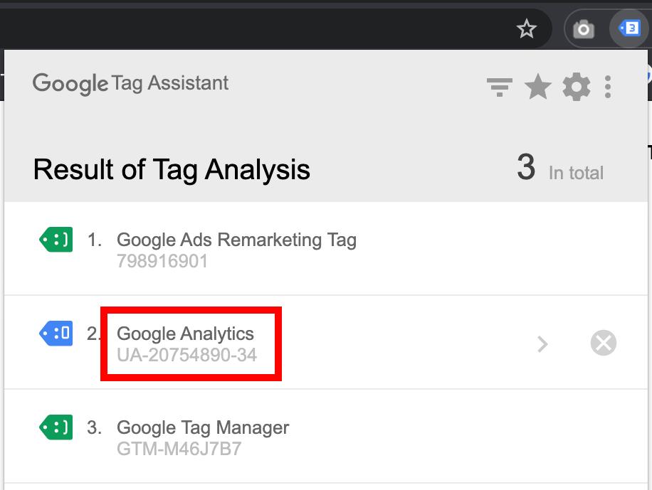 Zjištění Google Analytics ID v Tag Assistant