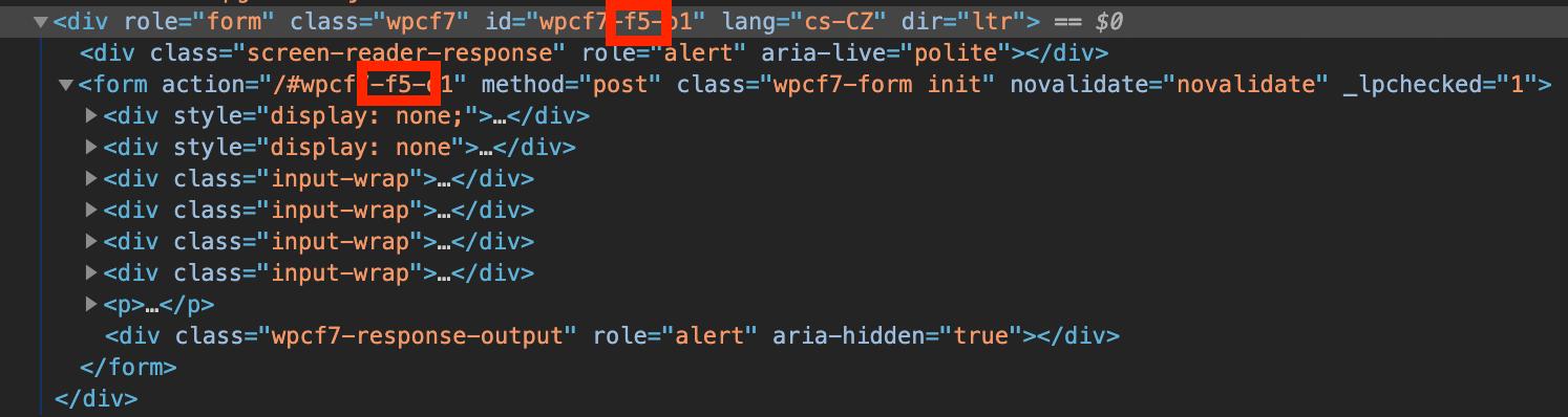 ID formuláře Contact Form 7 ze zdrojového kódu
