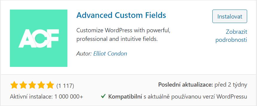 Instalace Advanced Custom Fields